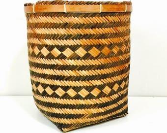 "Vintage Two-Tone Tribal Planter Basket - 11"" Tall"