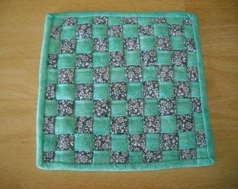 "Woven fabric potholder//Woven fabric trivet/Grey and aqua woven fabric potholder/trivet//8"" potholder/trivet//Grey and aqua trivet"