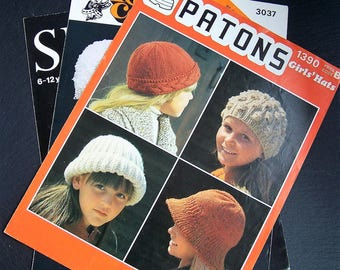 Vintage Knitting Patterns, Baby Hat, Childrens Hats, Sirdar, Patons, King Cole, Baby Bonnet, Beanie Hat, Knitted Hat Pattern, Girls Boys Hat
