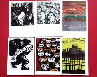 Japanese engraving. Set of 12 Vintage Postcards, Moscow Isogis, 1963