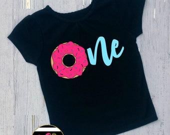 girls donut birthday shirt. toddler birthday. first birthday. cake smash birthday outfit