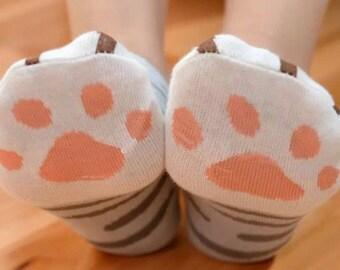 Tabby Cat Paw Socks