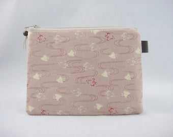 Japanese zipper pouch, Small pouch, Birds, Pink, Coin purse, Period pad case