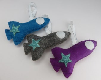 Handmade Felt Rocket Decoration