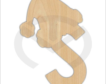 Unfinished Wood Initial with Santa Hat Laser Cutout, Door Hanger, Personalized, Christmas Wall/Door Decor, Various Sizes