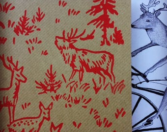 Hand printed, painted roller reindeer/stag, woodland, forest scene kitsch Christmas/greetings card