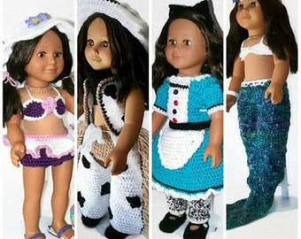 "Patterns for 18"" Dolls, Cute doll clothes, Crochet pattern, Doll outfits, Pattern bundle, 18 inch doll clothes, Gifts for girls, Toy clothes"