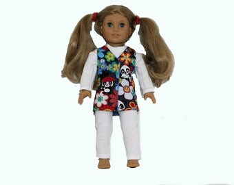 Red, Blue, Green, Yellow and White Happy Panda and Flowers Jumper for Soft Body 18 Inch Dolls such as American Girl, Our Generation