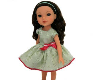 Pale Green Brocade Party / Holiday Dress With Red Satin Trim, Panties For 13.5 - 14 Inch Dolls such as Heart 4 Heart, Corolle Les Cheries