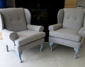 Gorgeous wing back armchairs in stunning dogtooth wool