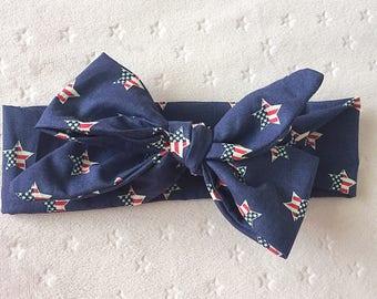 4th of July headwrap, 4th of July headband, 4th of July top knot headband, baby headwrap, baby headband, 4th of July baby headband