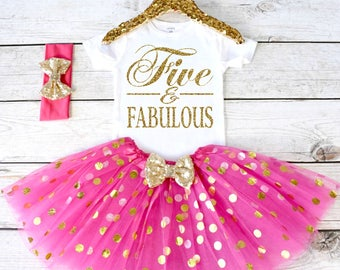 Five and Fabulous. Girls Birthday Outfit. Tutu Set. Girl's 5th Birthday Tutu Outfit. Birthday Outfit Girl. Girl Outfit S6 5BD (HOTPINK)