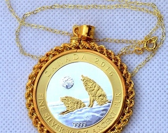 New 24k Gold plated sterling silver necklace + coin holder rope pendant + Canadian wolf fine silver coin special gilded, excellent gift idea