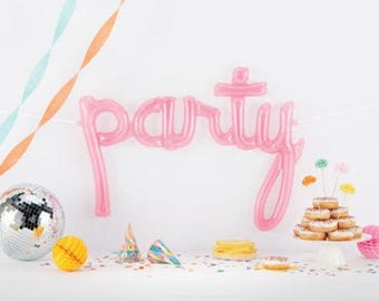 PARTY script pink clear letter balloons - party decor - balloon banner kit