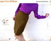 ON SALE 1960's Olive Mad Men Pencil Skirt // Army Green Wooly High Waisted Skirt