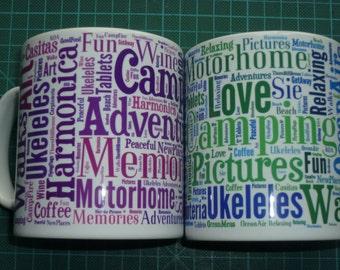 Personalized Gift Mug Word Cloud Teacher Birthday Celebration Gift. Your words. Personalised. Custom