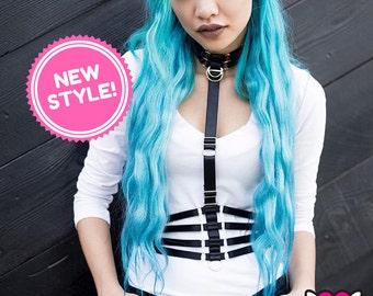Fashion Bondage Harness, Detachable Collar & Waistie Set, Completely Adjustable Cage Belt