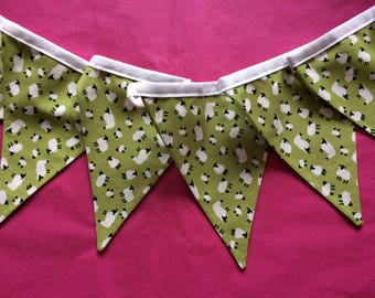Cute Sheep Cotton Double Sided Bunting - Cute Sheep on a green background