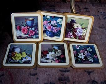 Floral Coasters, Coaster Set, Six Coasters,  Flower Coasters, Shabby Vintage, Drink Coasters, Boxed Coasters, Drinks Mats, Cork Coasters