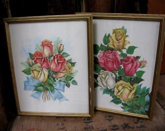 Edwardian Silk Pictures, Silk Pictures, Edwardian Decor, Silk Flower Pictures, Rose Prints, Vintage Florals, Botanical Prints, Flower Print