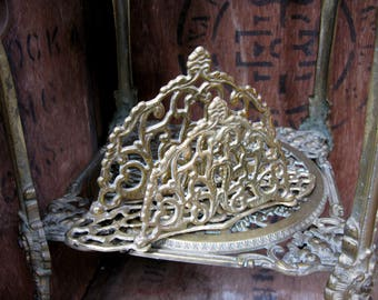Brass Letter Rack, Art Nouveau, Vintage Letter Rack, Brass Napkin Holder, Napkin Tidy, Ornate Letter Rack, Letter Holder, Menu Holder
