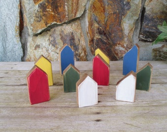 Tiny wooden houses - Rustic wooden home decor -  Set of 10 Miniature wooden houses - Housewarming gift - Hand painted wooden houses