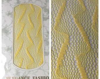 VTG 80s NOS  petite medium lightning bult print yellow fishnet lace tights Korlus Elegance Fashion1980s lace pantyhose tights stockings