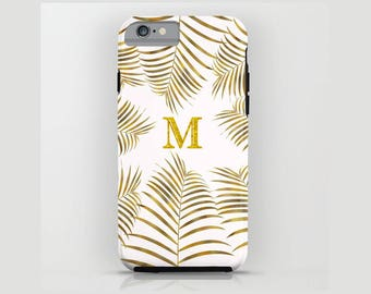 Custom Device case for iPhone 5/5s, iPhone 6/ 6s, iPhone 7/ 7s, Samsung, Galaxy, White, Gold, Palm, Leaves, Custom, Nature, Gift, Christmas