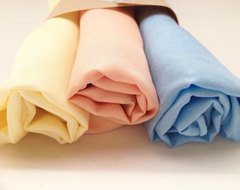 "Play Silks - Pastel Set (30""x 30"")  of 3 waldorf play silk, rainbow silk, large playsilk"