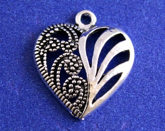 10 pcs -Antiqued Silver Heart Charm, Marcachite Silver Style Hollow Heart, 22 x 19mm Filigree Heart- AS-B08736-8S