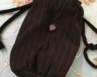 Reticule, BLACK striped velvet medium small reticule, Handmade, late 18th to late 19th century, VELVET, black heart