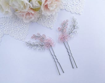 Set of two pink flower hair pins, wedding hair pins, wedding hair piece, bridal hair pins, bridesmaid hair pins, flower girl