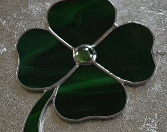 Lucky 4 Leaf Clover - Stained Glass Suncatcher