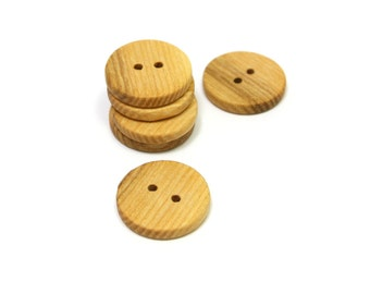 Ash wood buttons. Set of 6 wooden buttons size 0.8in (20mm) Natural handmade buttons. S1798
