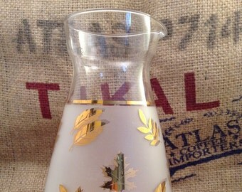 Lovely Frosted Libbey Gold Leaf Carafe