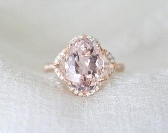 3.65 Ct. Oval Morganite Diamond Halo Engagement Ring on 14K Rose Gold