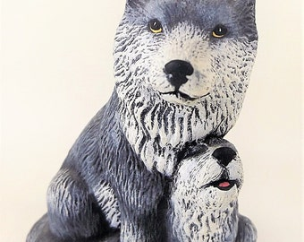 Wolf | Ceramic Wolf | Wolf With Pup | Hand Painted Wolf | Ceramic Wolves | Hand Painted Ceramics