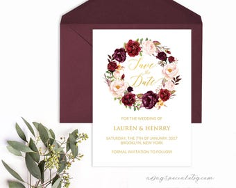 Burgundy Floral Gold Foil Save the Date Card Template, Printable 5x7 Wedding Template, Fits Vistaprint, DIY PDF Instant download #105