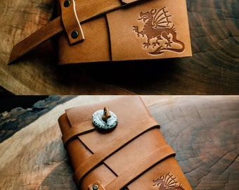 SALE 50% OFF!!! Dragon Journal Leather Refillable Leather Journal Notebook...Sale TODAY...Made in Portland