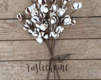 "Natural Floral White Cotton Boll Ball Stalk Spray Stem 29"" Farmhouse Home Decor Set of 3 Stems"
