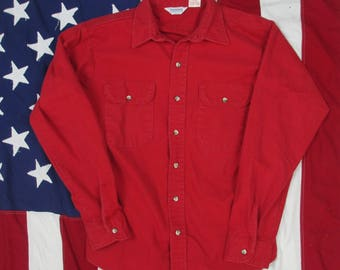 Vintage 1980's Five Brothers Red Chamois Button Up Shirt Medium/Large 16 16.5 Warm Flannel Made in USA Fall Winter