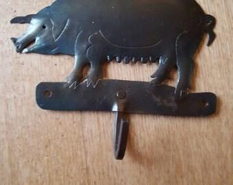 Rustic, handmade, folk art metal momma pig hook.
