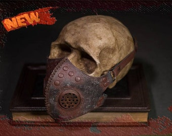 Post Apocalyptic Leather Mask Postapocalyptic Gas Mask CyberGoth Gas Mask Goth Steampunk Perfect for Burning Man Mask Cyberpunk Respirator