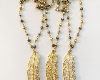 Pave Feather on Mixed Pyrite Chain