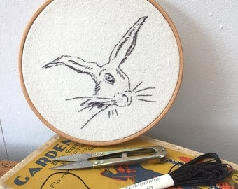Hand embroidered hare drawing in embroidery hoop, from my Flora & Fauna series FREE UK SHIPPING