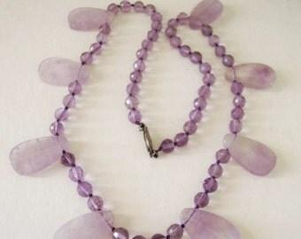 Beaded Genuine Amethyst Crystal Necklace Bead And Teardrop  Gemstone