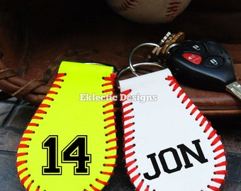 Personalized Softball/Baseball Key Fob/Key Chains