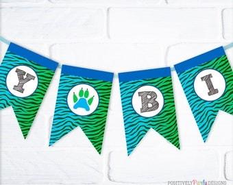 Tiger Stripes Birthday Flag Banner - Boy Birthday Name Banner - bunting, blue green tiger stripes, tiger paw