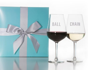 Set Of 2 Ball and Chain Wine Glasses / Red Wine Glass / White Wine Glass / Wedding Gift / Couples Gift / Packaged in Gift Box