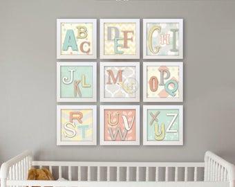 Alphabet Art, Alphabet Poster, Alphabet Wall Art, Alphabet Wall Decor, ABC  Wall